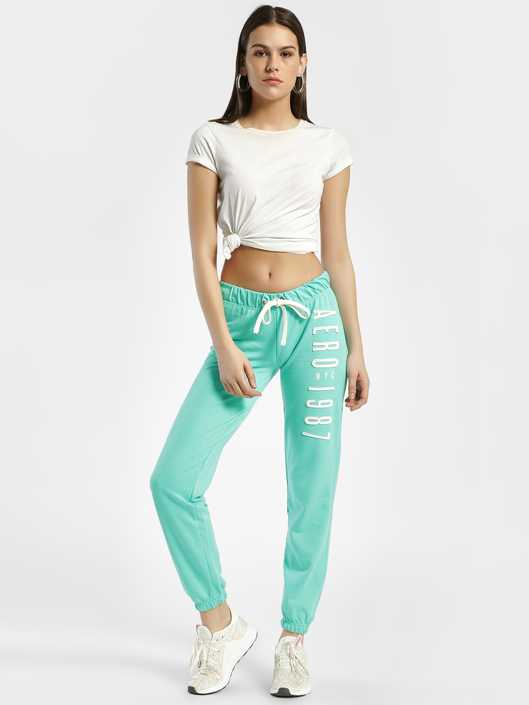 Aeropostale Light Green Side Contrast Patch Joggers 1