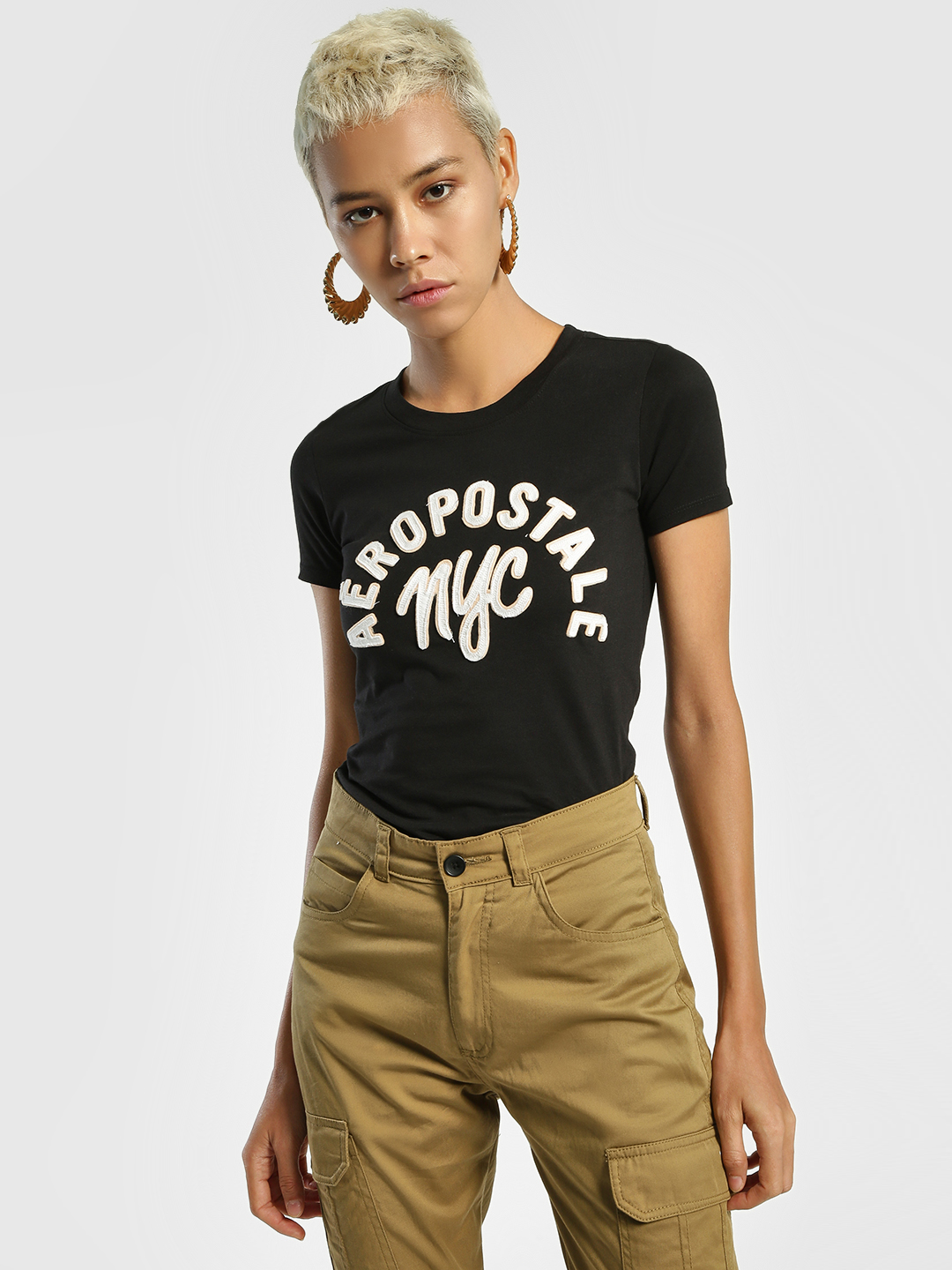 Aeropostale Black Contrast Brand Patch T-Shirt 1