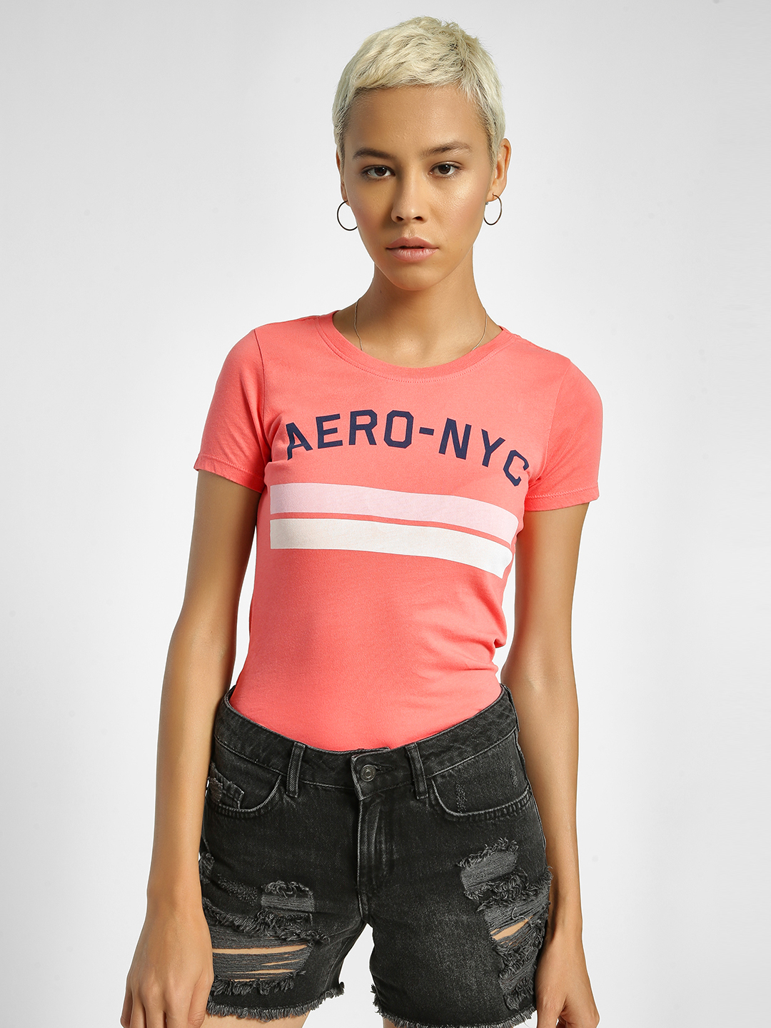 Aeropostale Pink Text Placement Print Round Neck T-Shirt 1