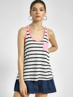 Aeropostale Striped Tropical Print Vest