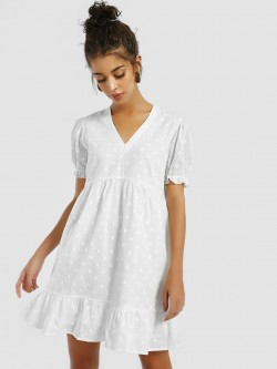 KOOVS Dobby Flared Hem Skater Dress