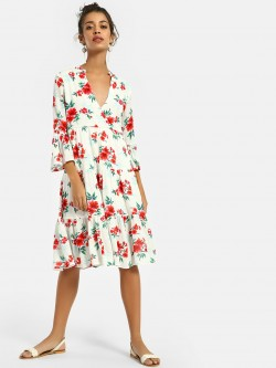 KOOVS Overlap V-Neck Frilled Skater Dress