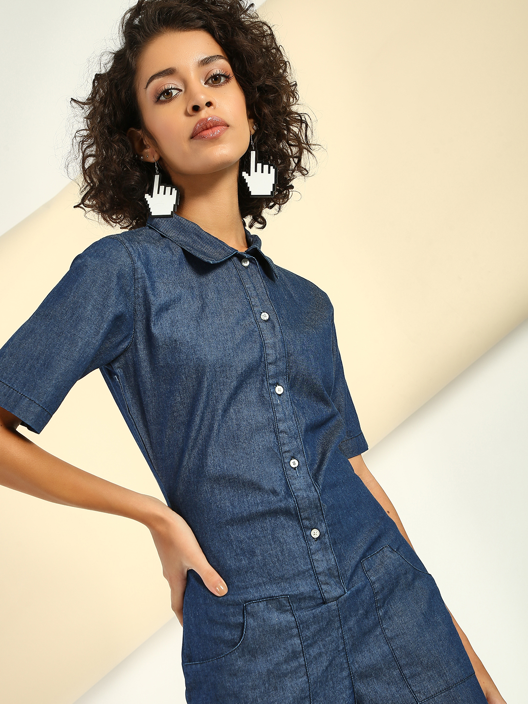 Freakins Blue Collared Denim Playsuit 1