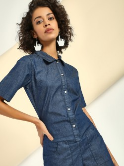 Freakins Collared Denim Playsuit
