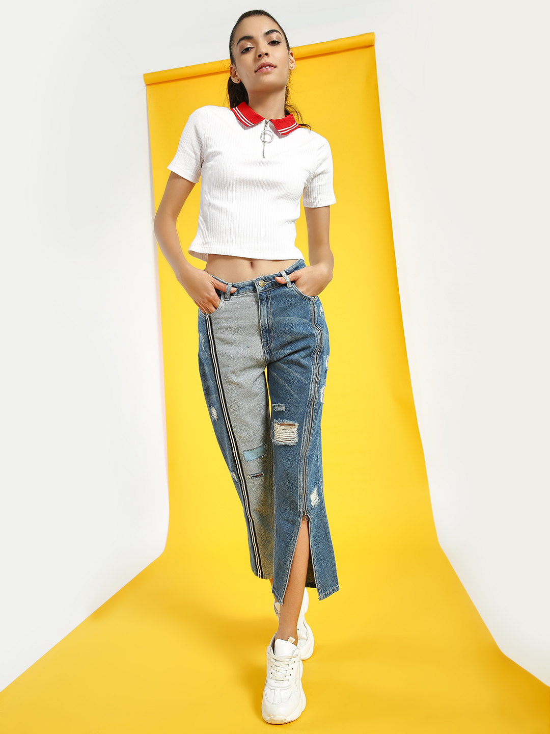 Freakins Blue Colour Block Distressed Cropped Jeans 1