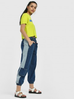 Freakins Colour Block Cropped Joggers