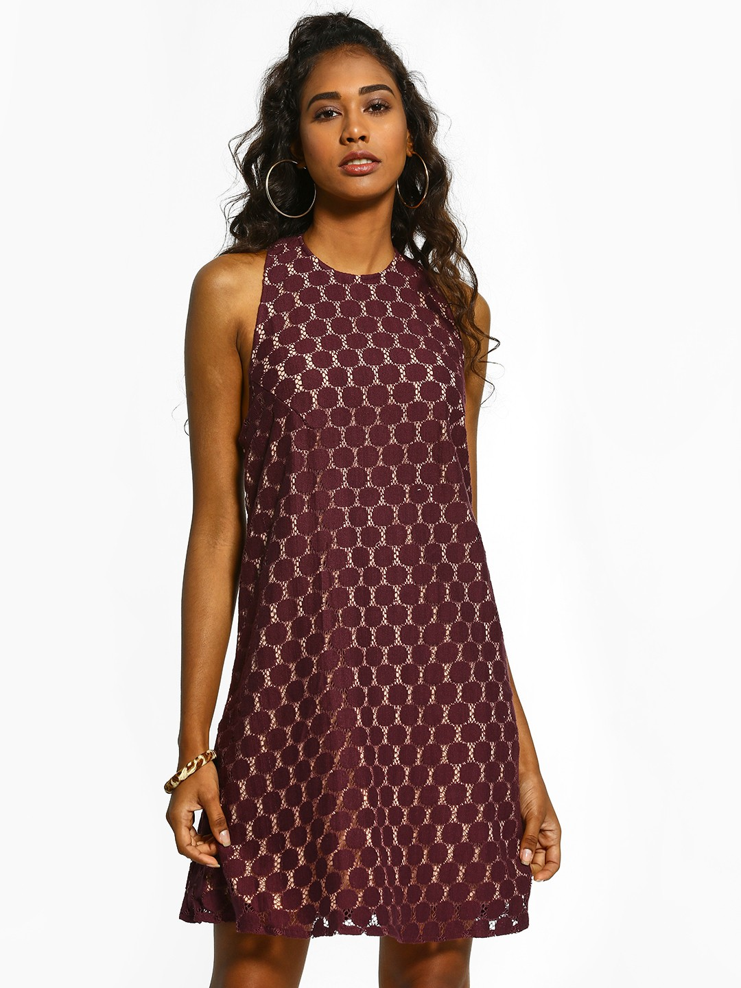 The Paperdoll Company Maroon T-Back Lace Skater Dress 1