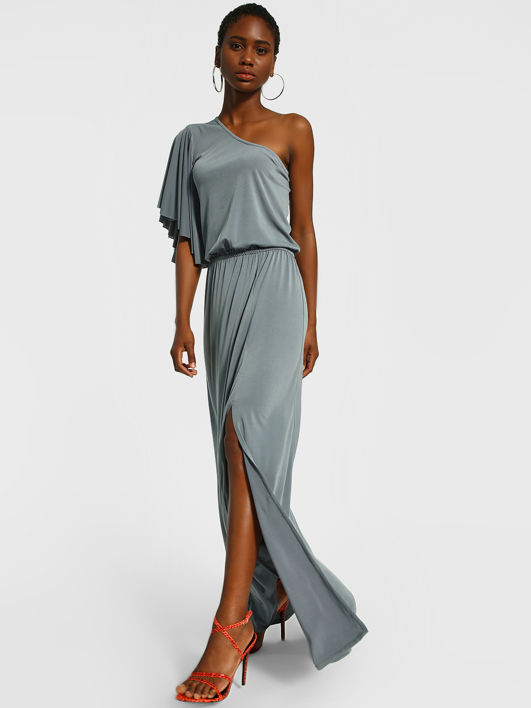 The Paperdoll Company Grey One Shoulder Front Slit Maxi Dress 1