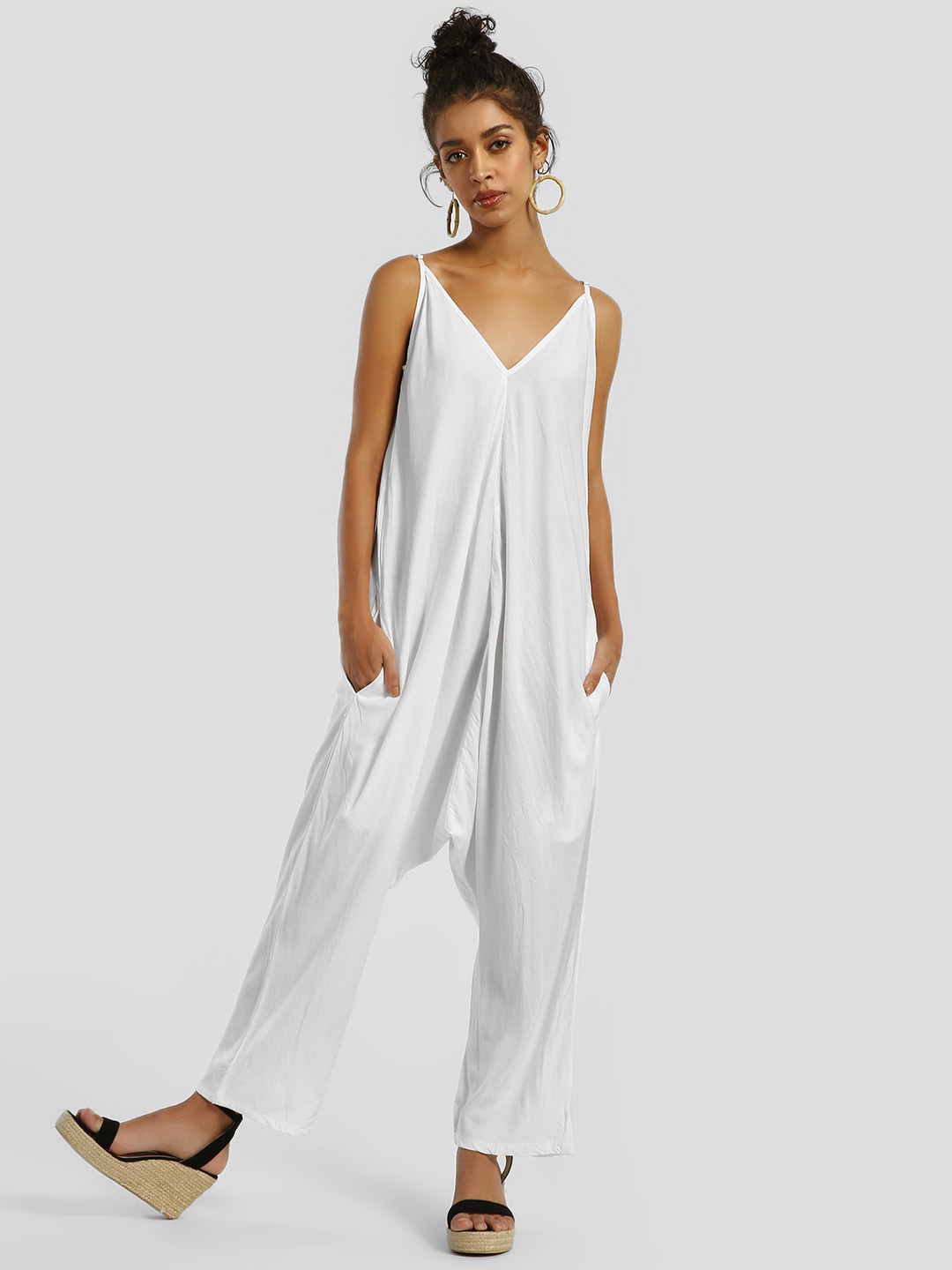 The Paperdoll Company White Strappy Drop Crotch Cropped Jumpsuit 1