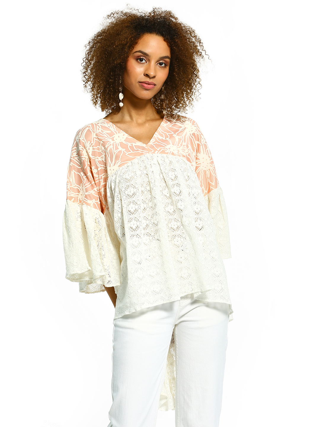 The Paperdoll Company White/Pink Printed Lace High-Low Blouse 1