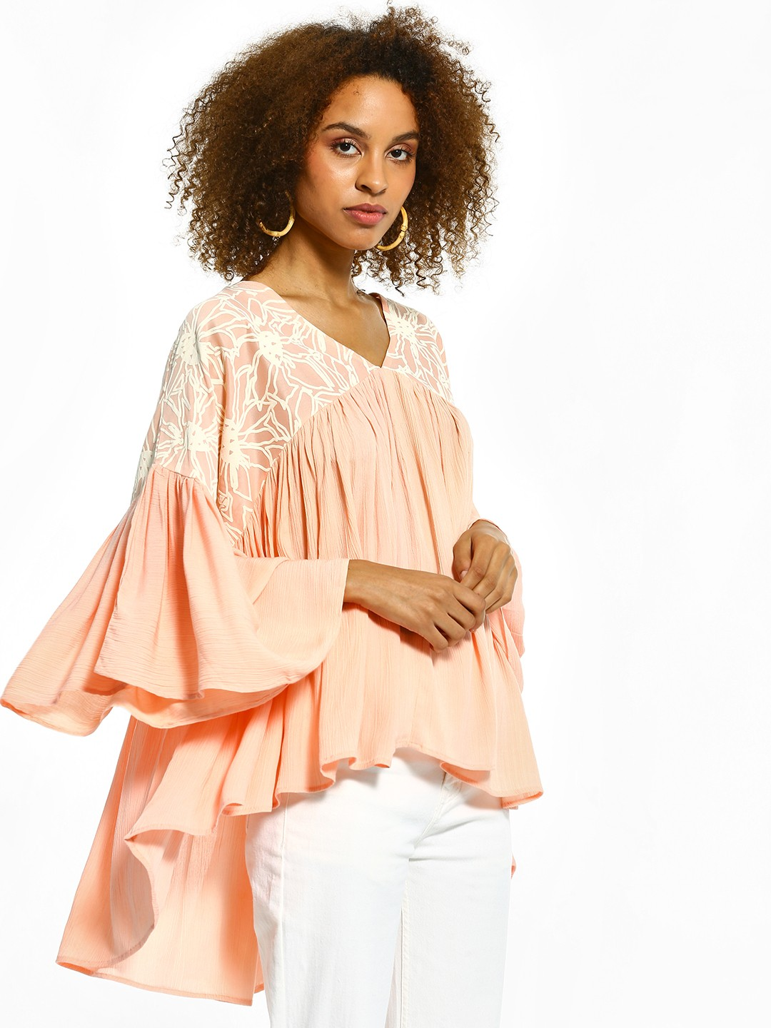 The Paperdoll Company Pink Half Print High-Low Blouse 1