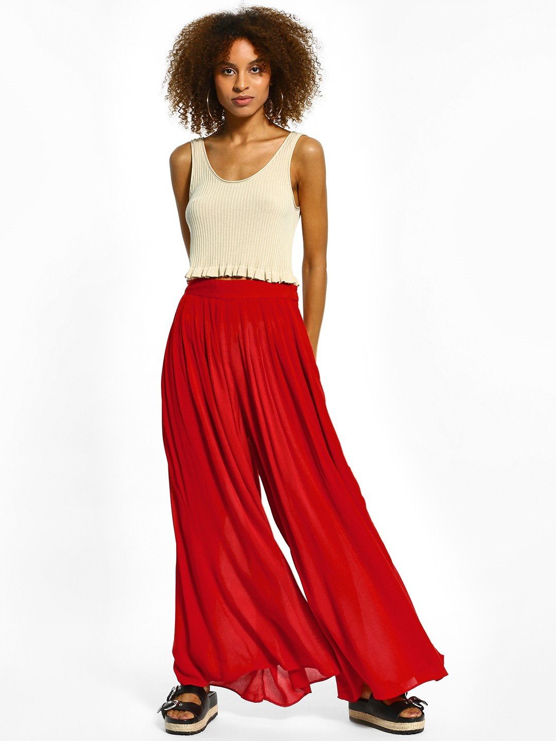 The Paperdoll Company Red Pleated Wide-Leg Palazzo Pants 1