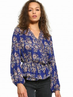 Kisscoast Floral Print Wrap Top