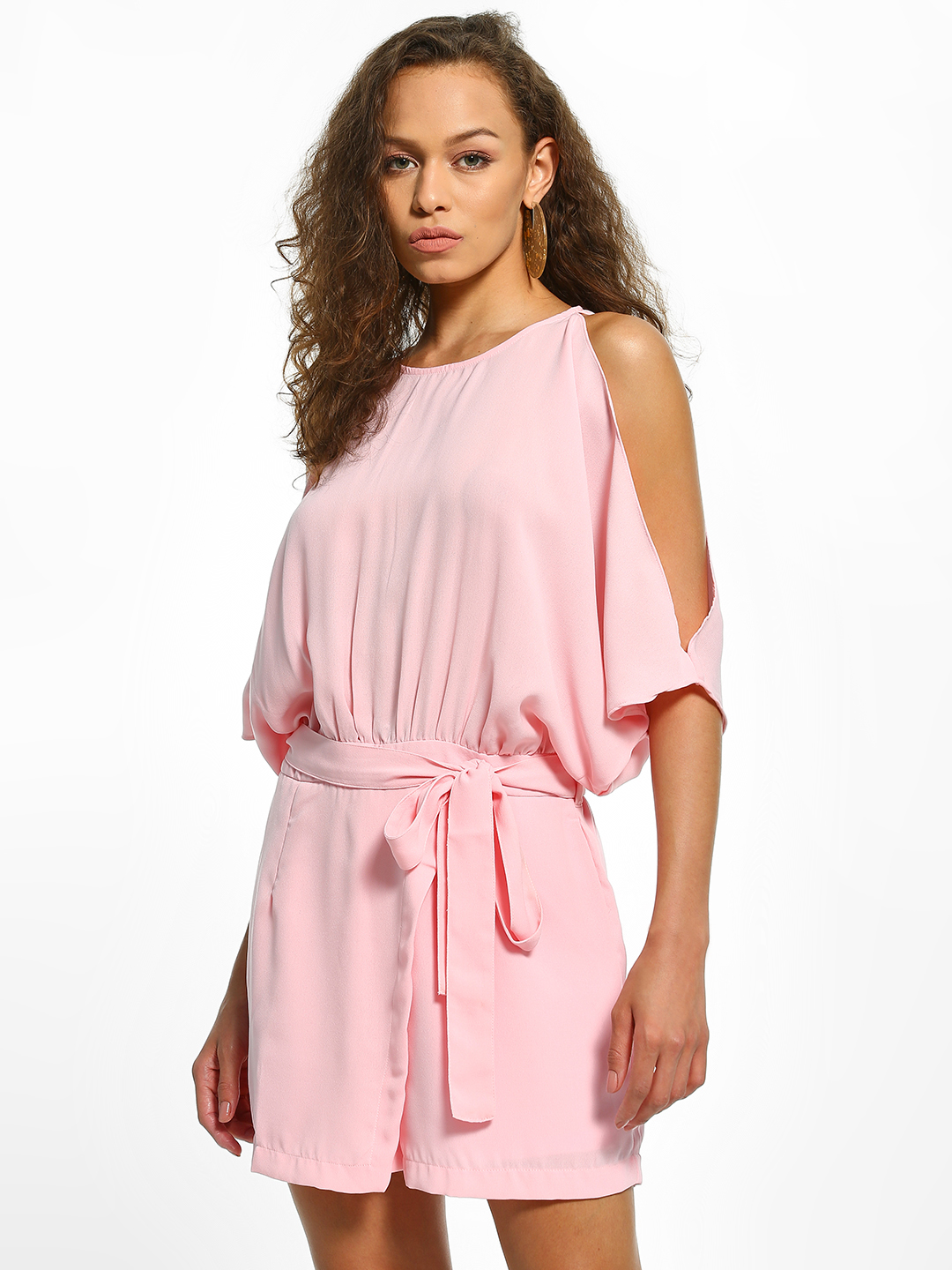 Noble Faith Pink Cold Shoulder Belted Waist Playsuit 1