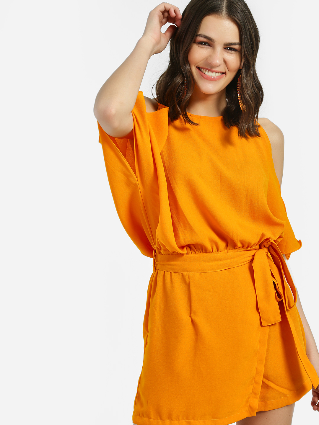 Noble Faith Yellow Cold Shoulder Belted Waist Playsuit 1