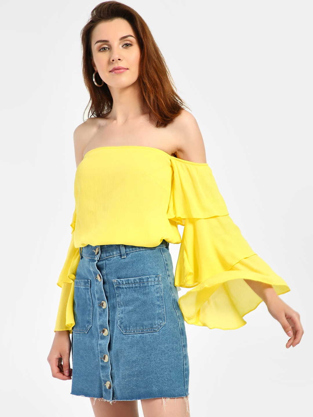Noble Faith Yellow Crinkle Layered Sleeve Bandeau Top 1