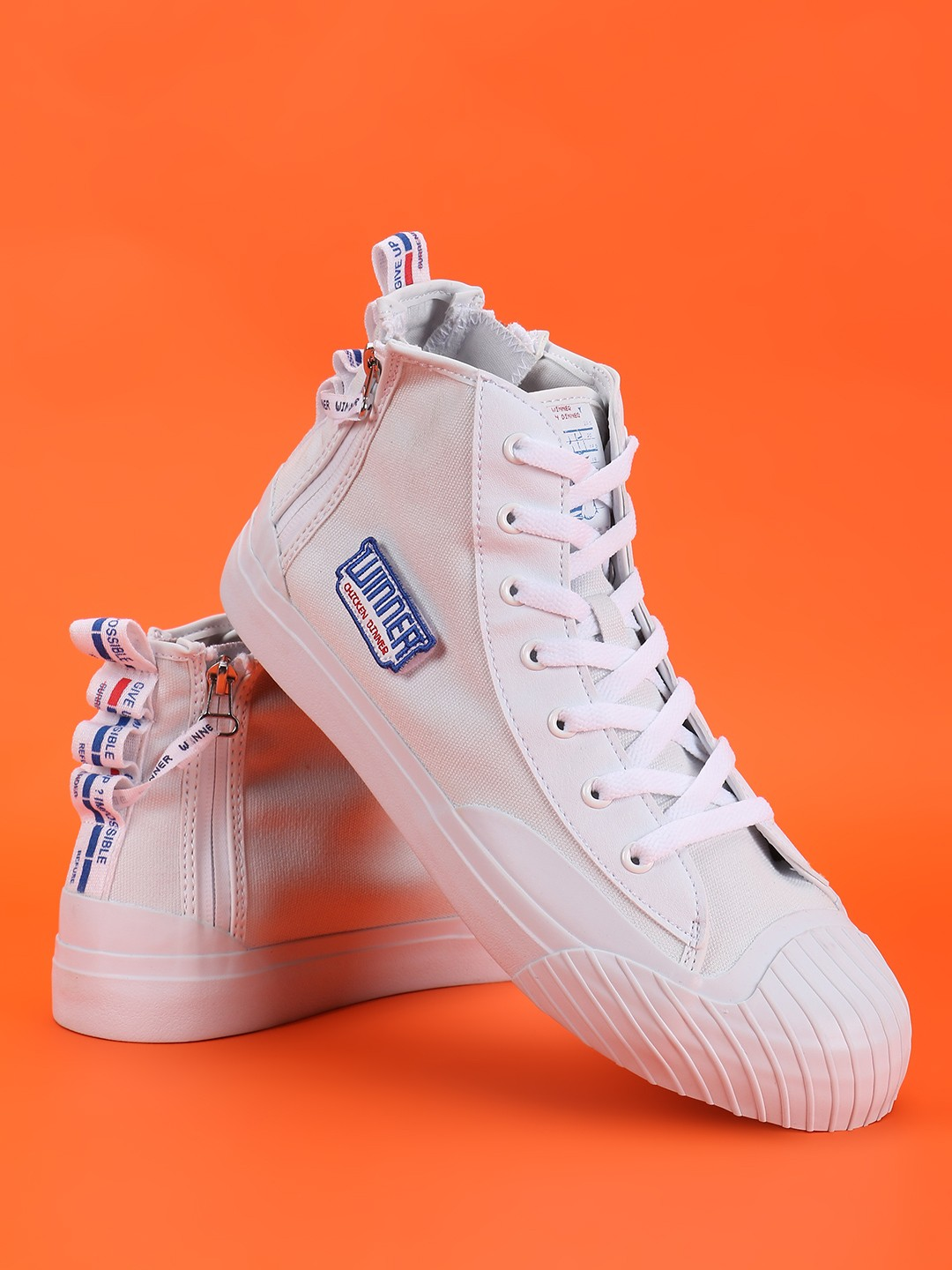 361 Degree White Vulcanized Contrast Patch Hi-Top Sneakers 1