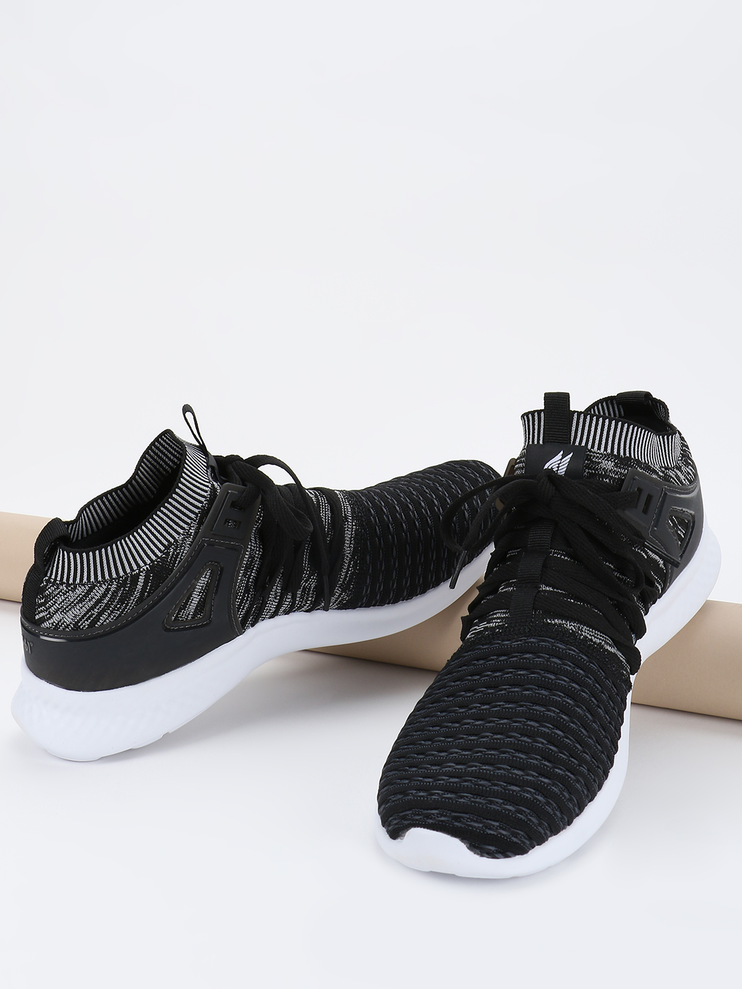 361 Degree Black Knitted Lace-Up Sockliner Trainers 1