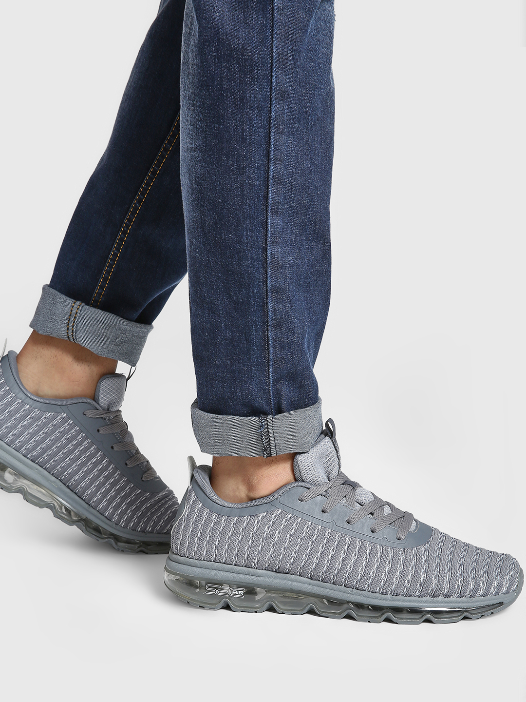 361 Degree Grey Knitted Performance Running Trainers 1