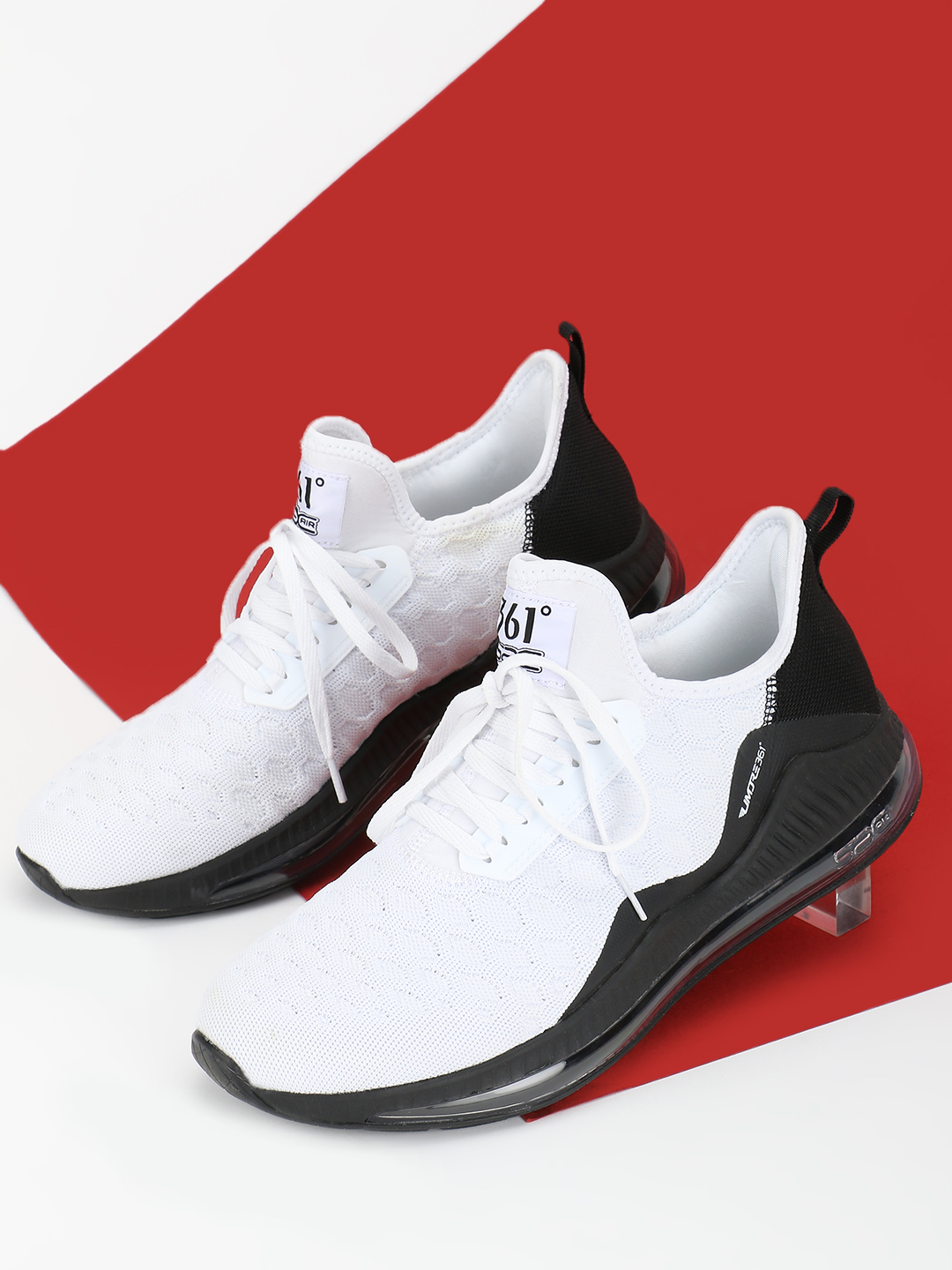 361 Degree White Knitted Performance Running Trainers 1