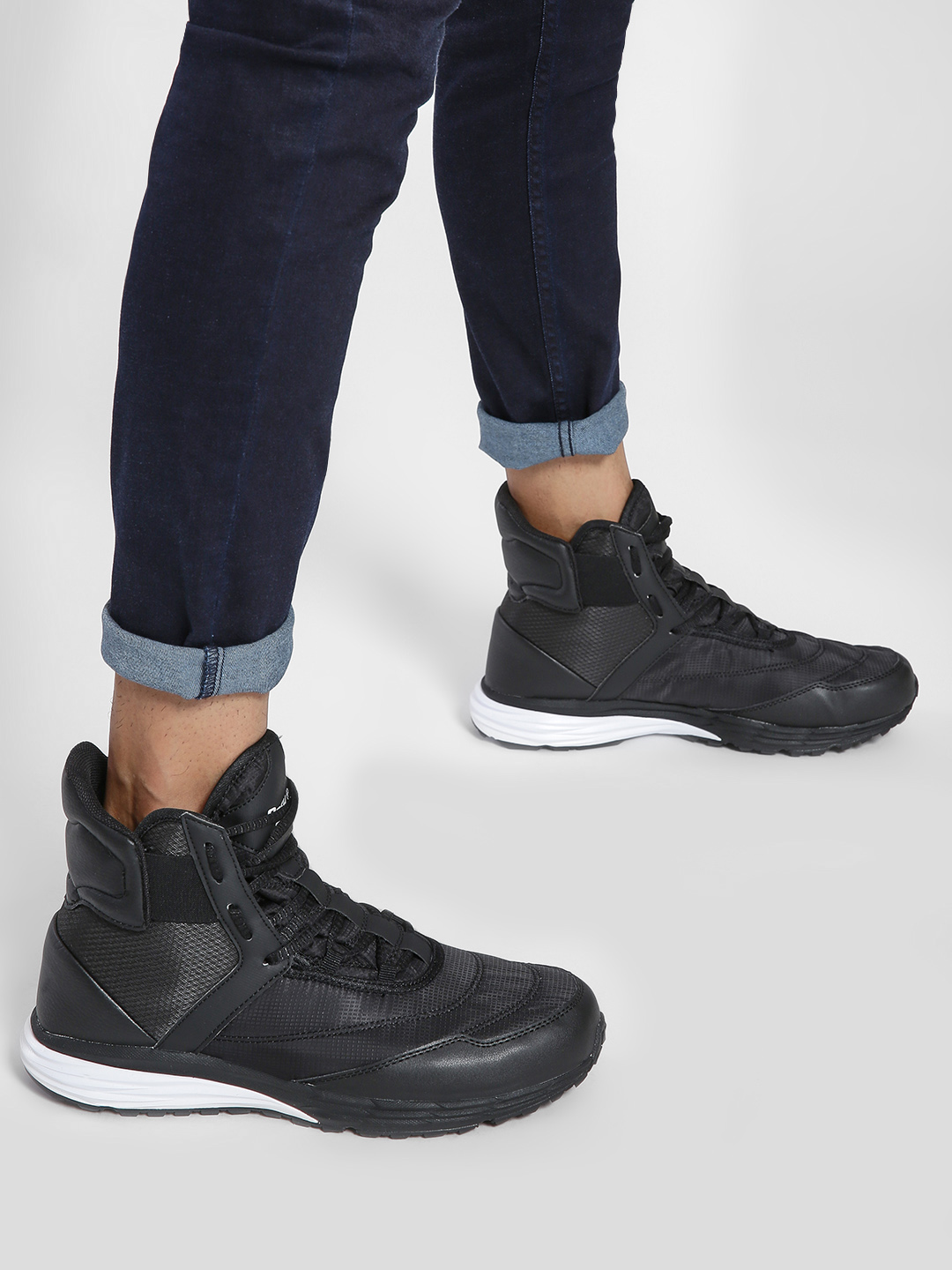 361 Degree Black Panelled Hi-Top Sneakers 1