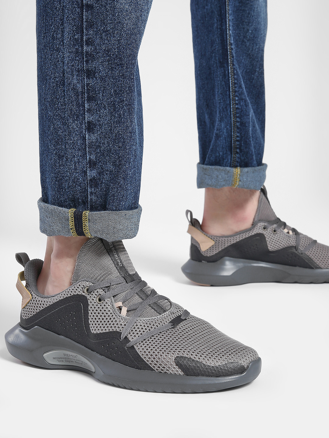 361 Degree Grey Mesh Knitted Trainers 1