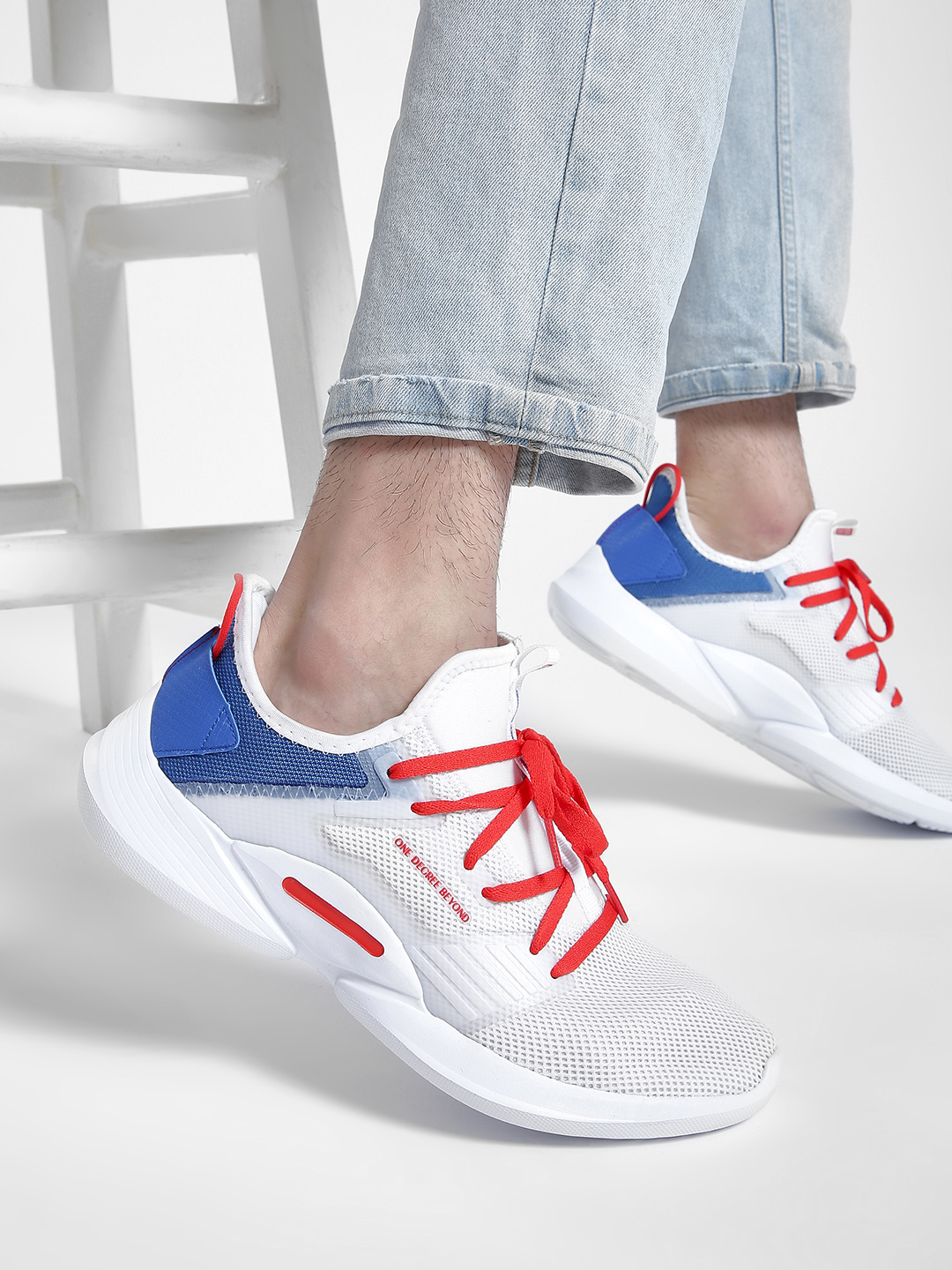 361 Degree White Mesh Knitted Trainers 1