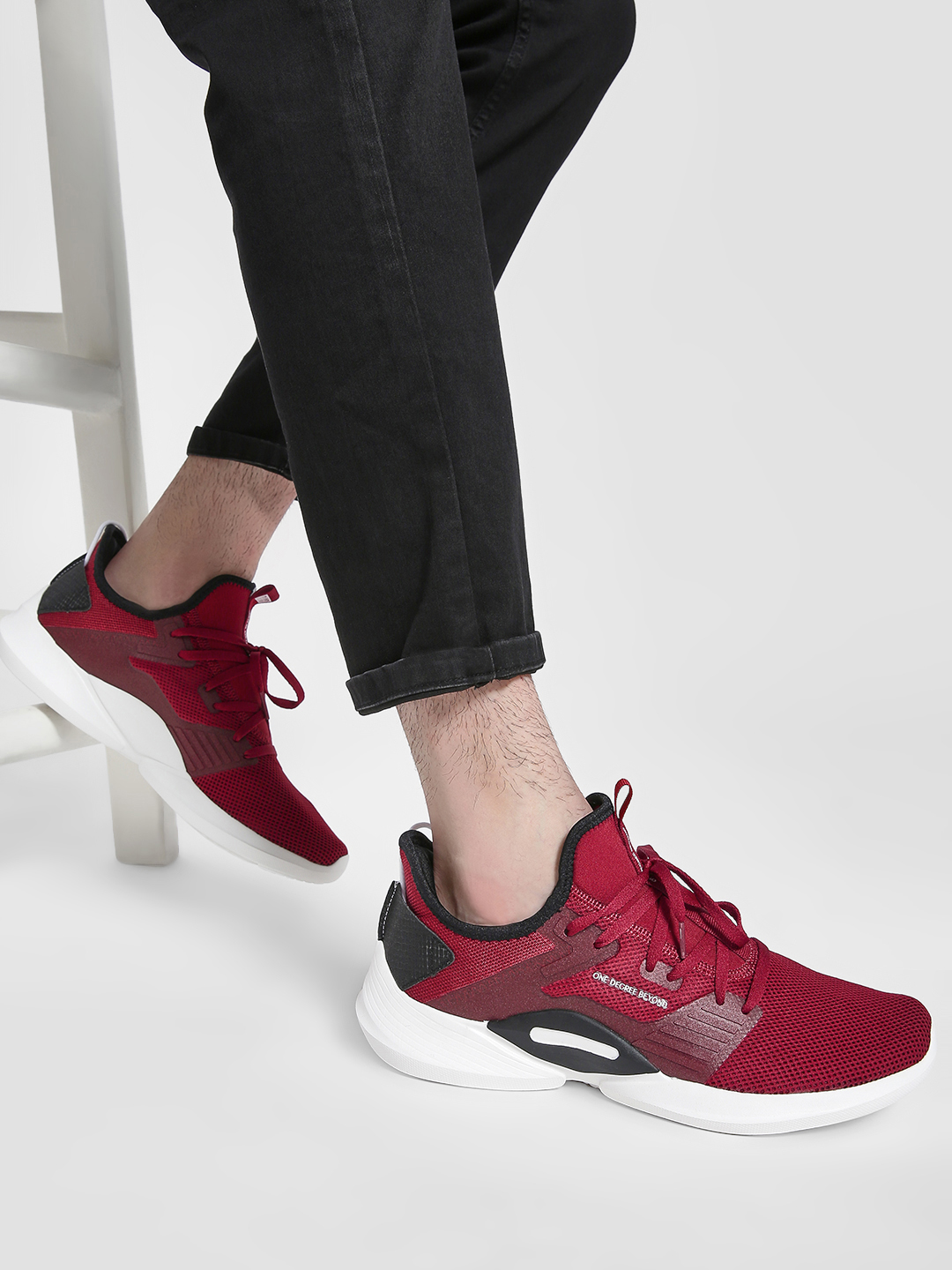 361 Degree Red Contrast Panel Mesh Trainers 1