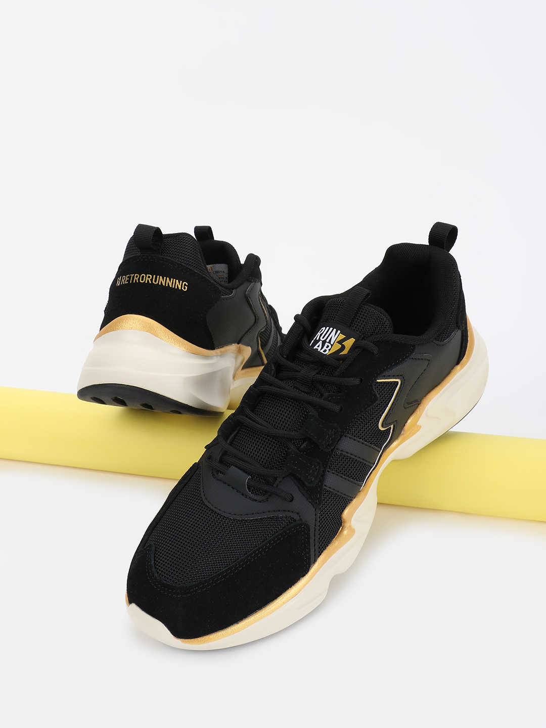 361 Degree Black Suede Panel Knitted Trainers 1