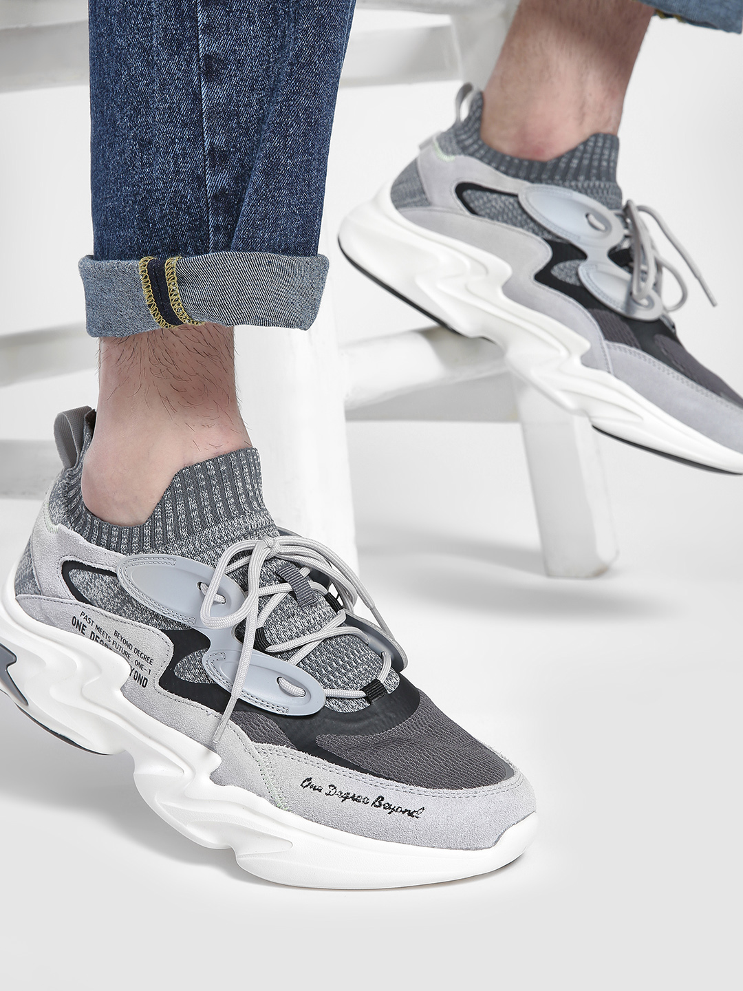 361 Degree Grey Suede Panel Sockliner Trainers 1