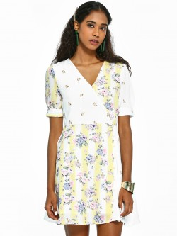 KOOVS Mix Floral Print Skater Dress