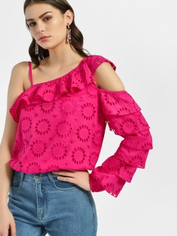 KOOVS Broderie One Shoulder Top
