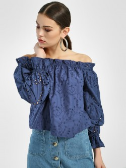KOOVS Broderie Off-Shoulder Top