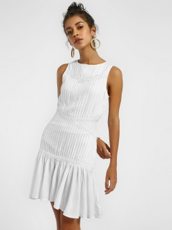 KOOVS Lace Trim Pintuck Shift Dress