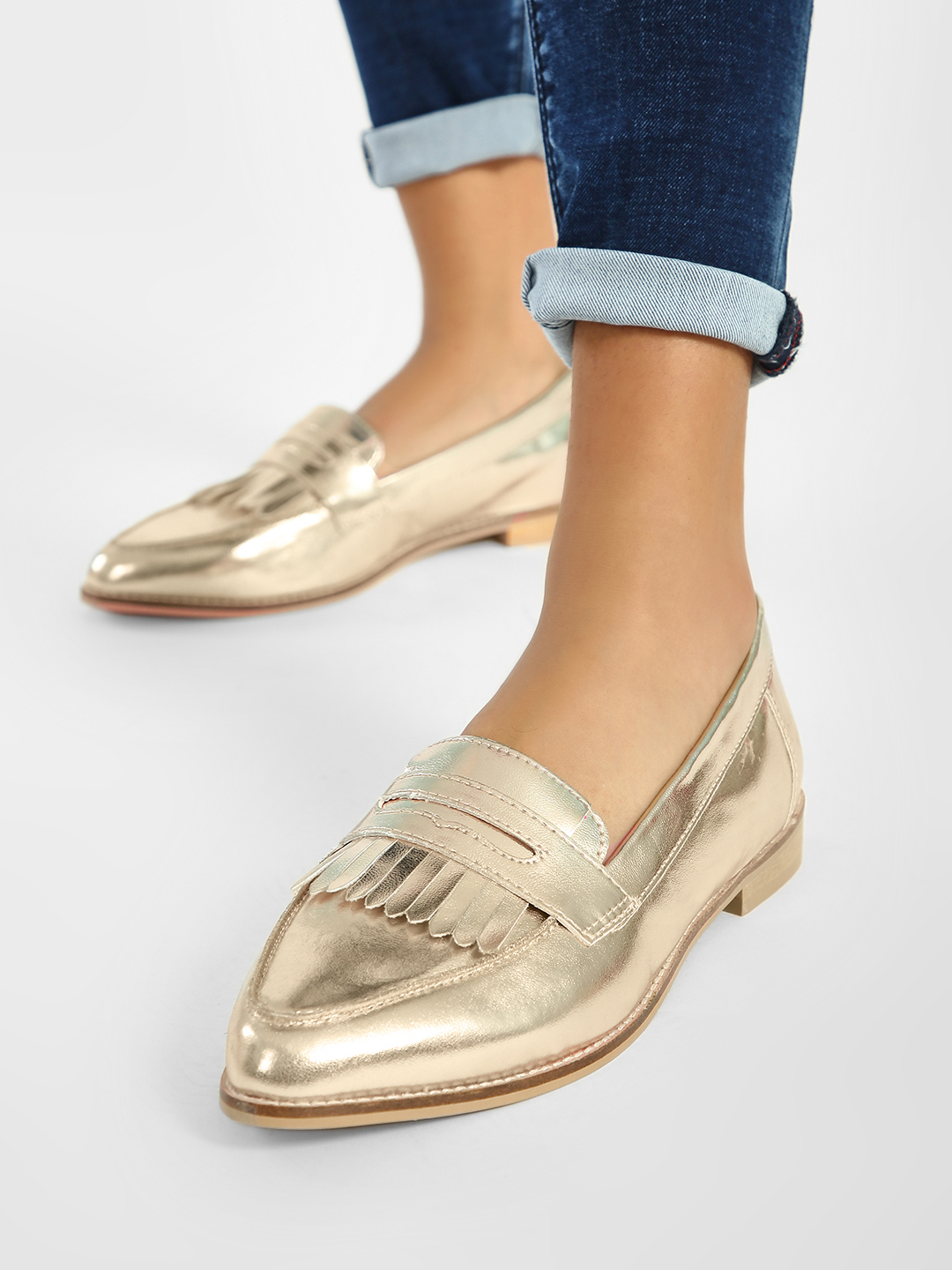 ILLIMITE Gold Metallic Fringe Detail Loafers 1