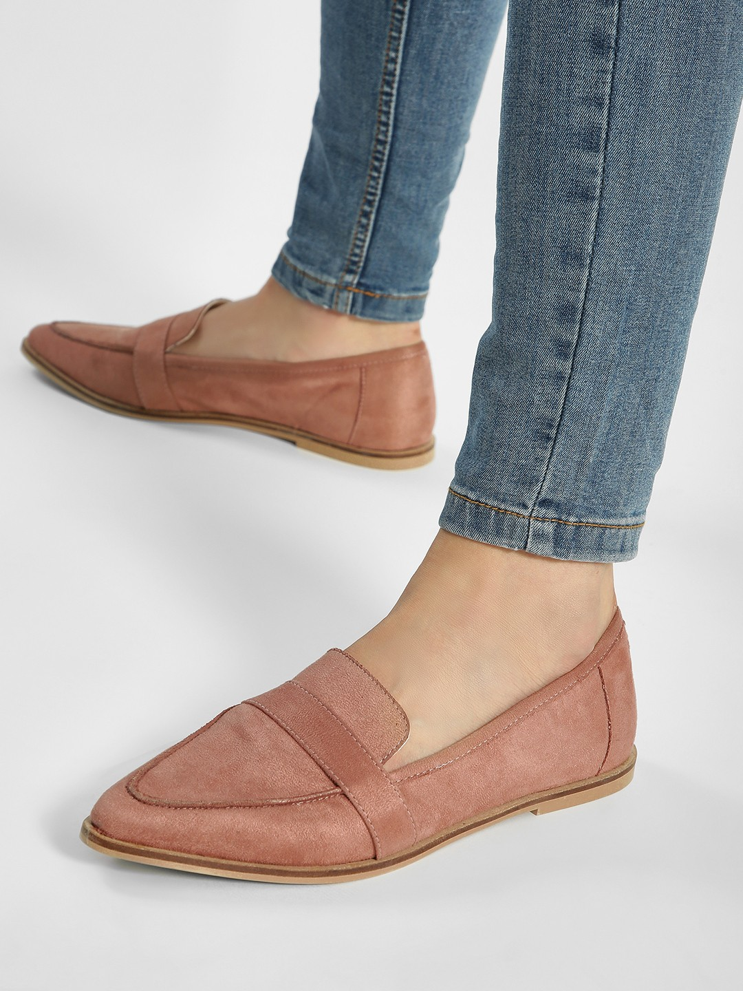 ILLIMITE Pink Suede Loafers 1