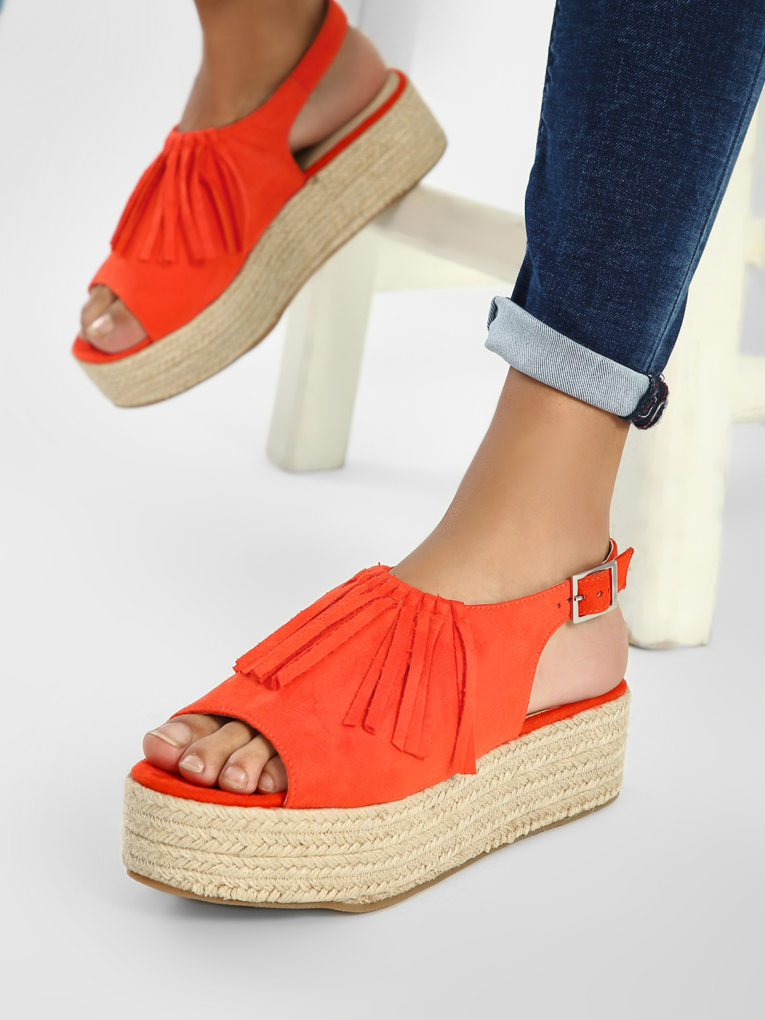 ILLIMITE Orange Fringe Detail Suede Espadrille Wedges 1