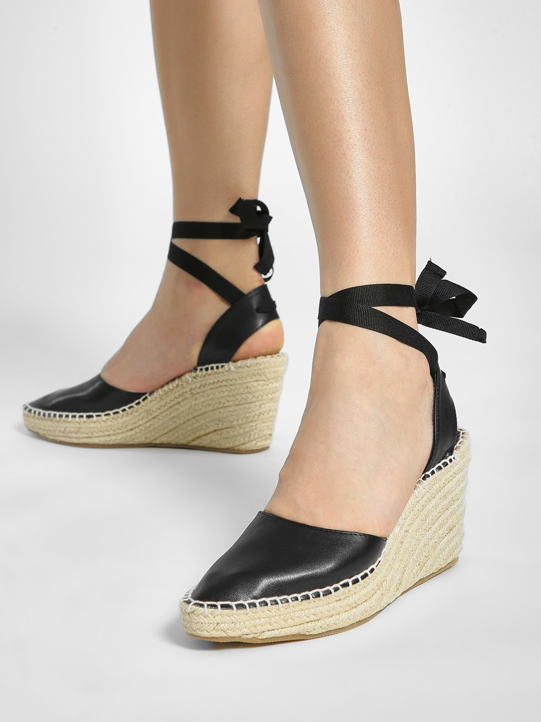 ILLIMITE Black Ankle Tie Stacked Espadrille Wedges 1