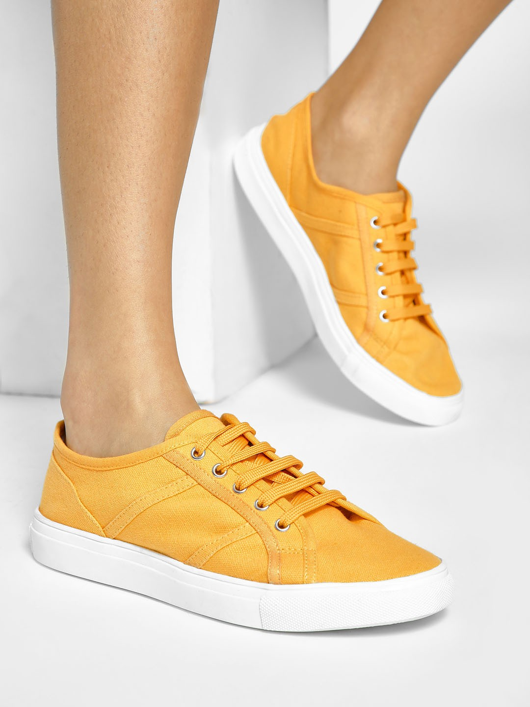 ADORLY Yellow Canvas Panelled Sneakers 1