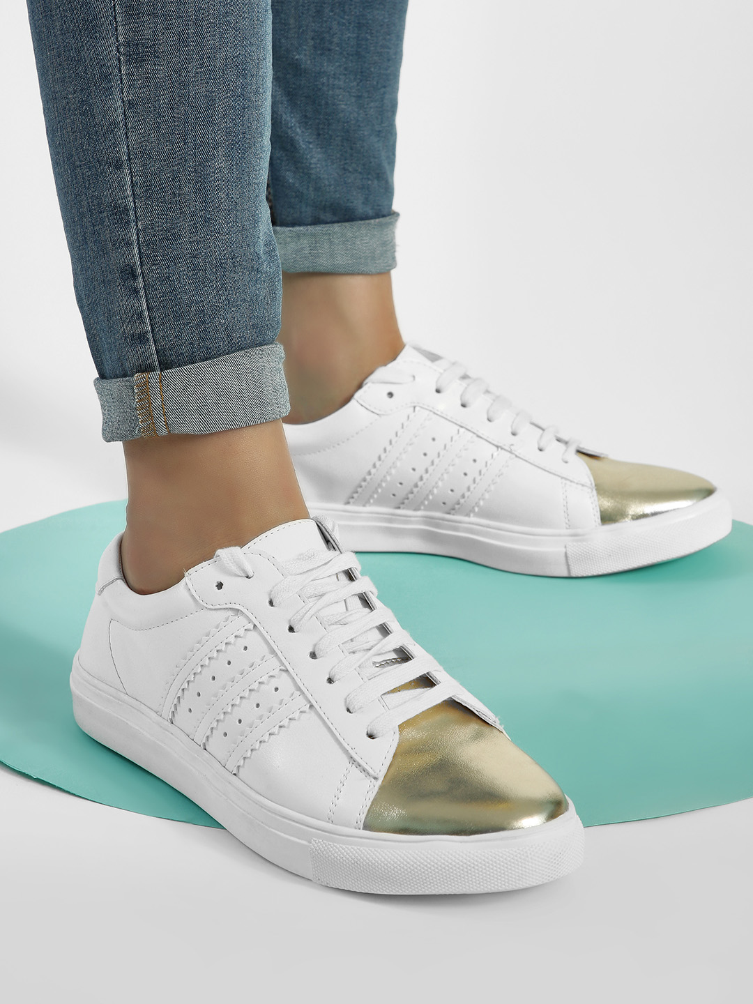 ADORLY Gold Metallic Toe Panelled Sneakers 1