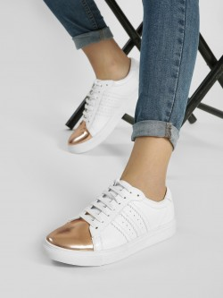ADORLY Metallic Toe Panelled Sneakers