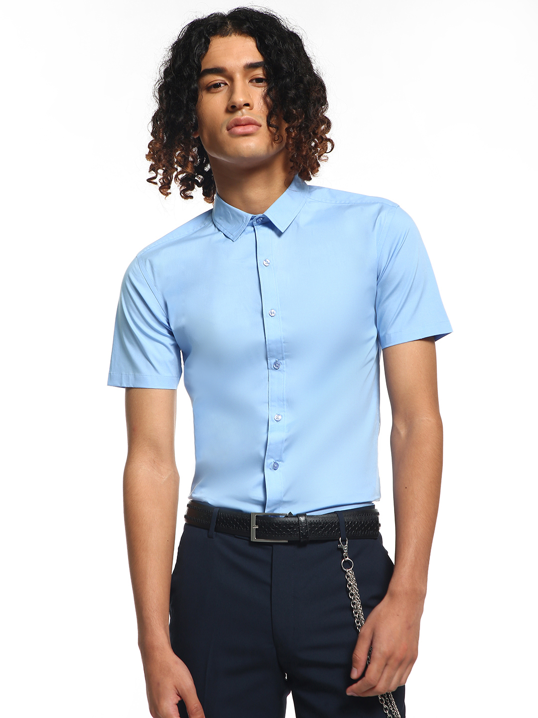 KOOVS Blue Short Sleeve Poplin Shirt 1