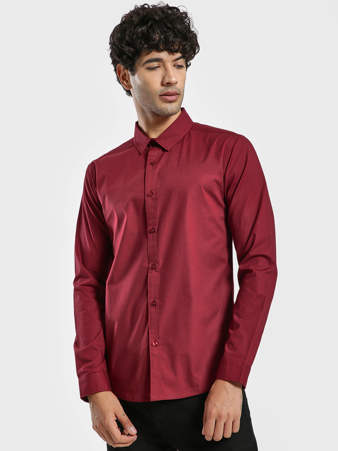 KOOVS Maroon Muscle Fit Long Sleeve Shirt 1