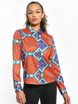 KOOVS Scarf Print Long Sleeve Shirt