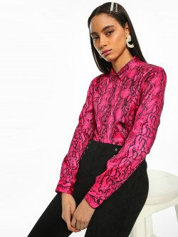 KOOVS Snake Print Long Sleeve Shirt