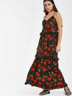 KOOVS Floral Print Layered Maxi Dress