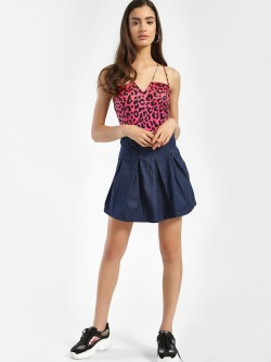 K Denim Pleated Denim Skater Mini Skirt