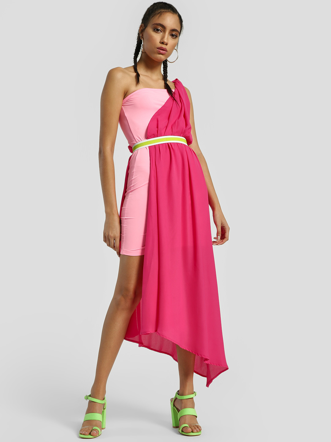 KOOVS Pink Colour Block One-Shoulder Asymmetric Dress 1