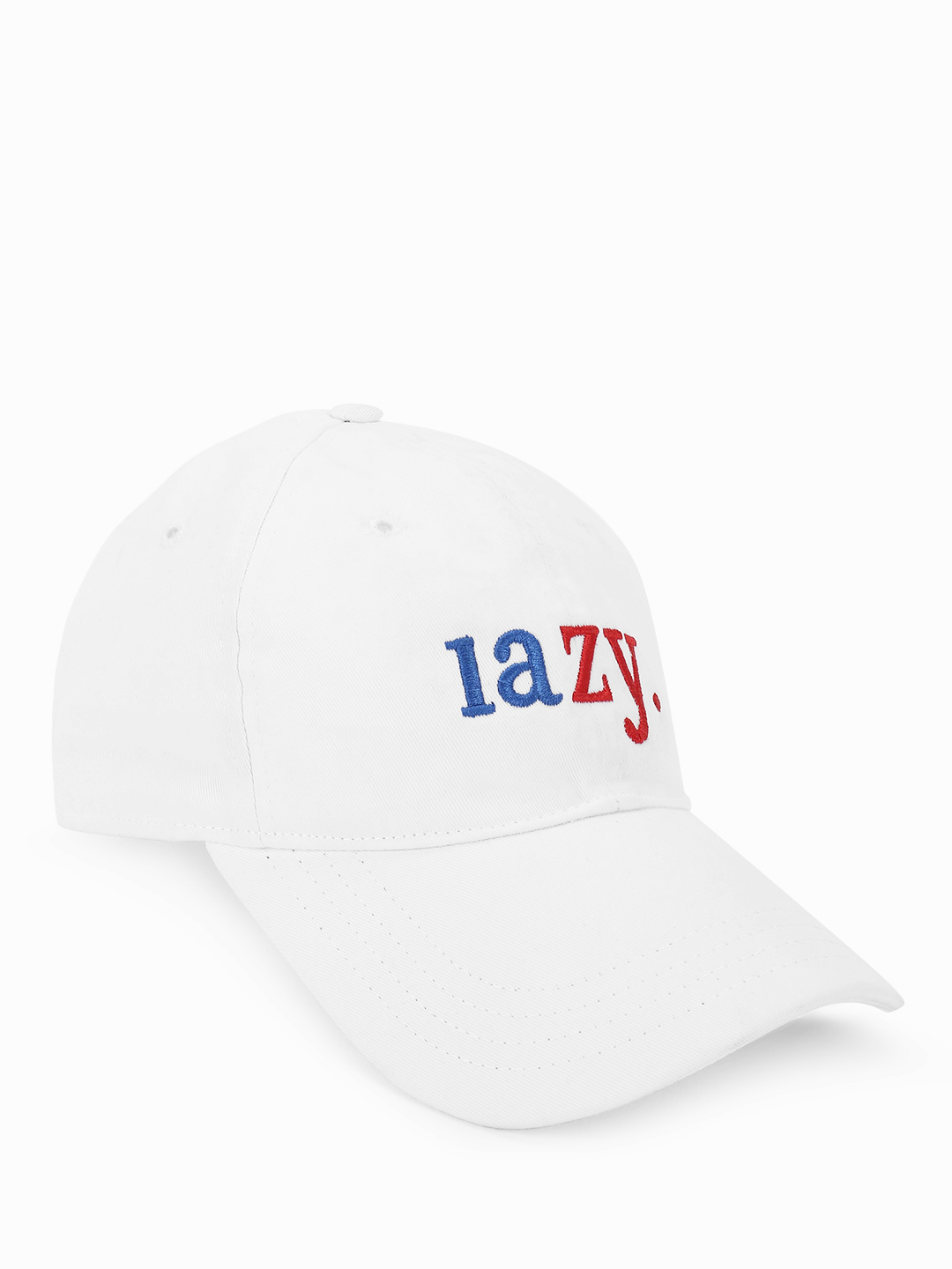 Lazy Panda White Lazy Text Embroidered Cap 1
