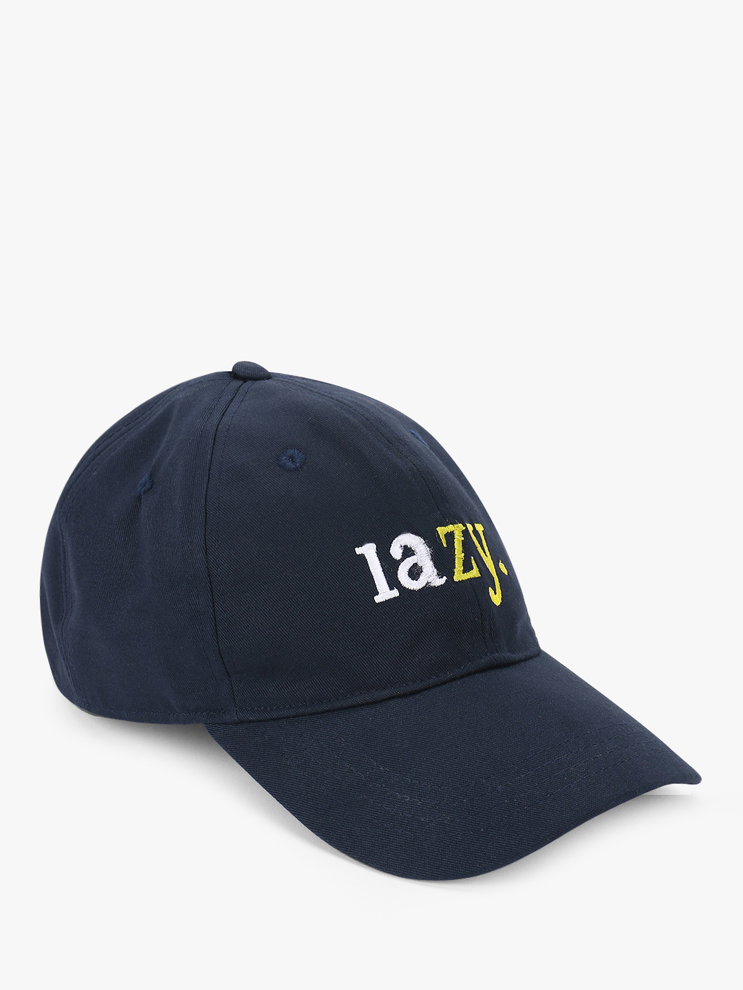 Lazy Panda Blue Lazy Text Embroidered Cap 1